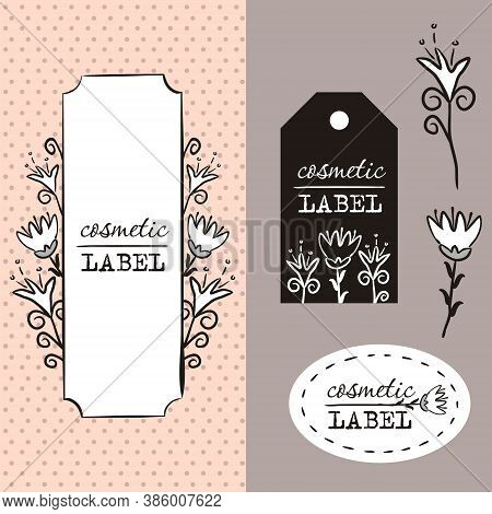 Labels For Cosmetics. Vector Floral Template For Label Design. Flower Logo. Cosmetic Logo. Label For