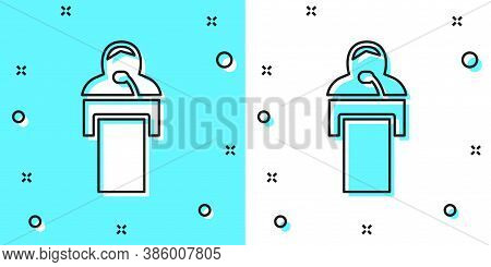 Black Line Gives Lecture Icon Isolated On Green And White Background. Stand Near Podium. Speak Into