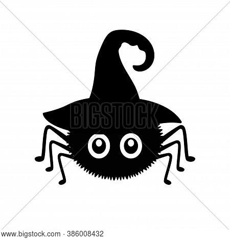 Black Spider In Witch Hat Isolated On White Background, Helloween Vector Illustration