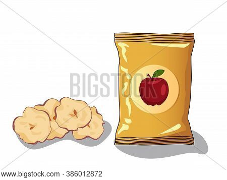 Dried Slices Apple Chips Vector Drawing. Hand Drawn Dehydrated Fruit Ring And Slices. Healthy Vegan