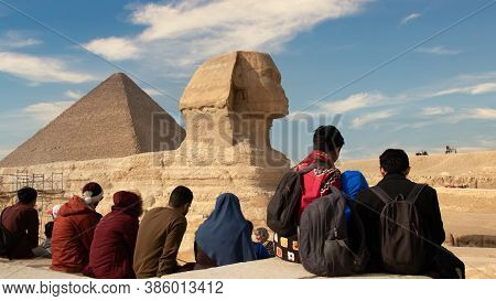 Giza, Egypt - January 29, 2020 - Tourists Visit The World Famous Landmark, The Great Sphinx Of Giza