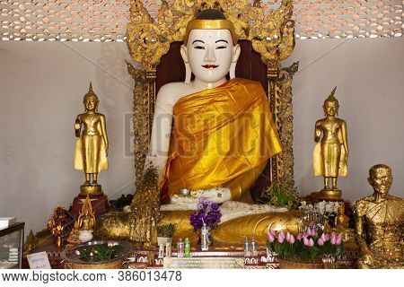 White Buddha Statue Burma Style In Church For Thai People And Foreign Travelers Travel Visit And Res