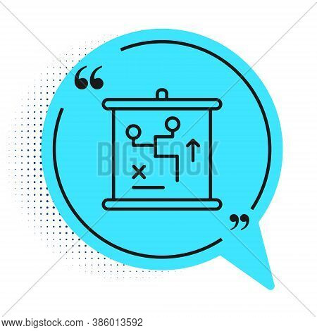 Black Line Planning Strategy Concept Icon Isolated On White Background. Cup Formation And Tactic. Bl