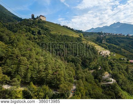Aerial View On Tyrol Castle In Tirolo Near Merano, South Tyrol, Italy.