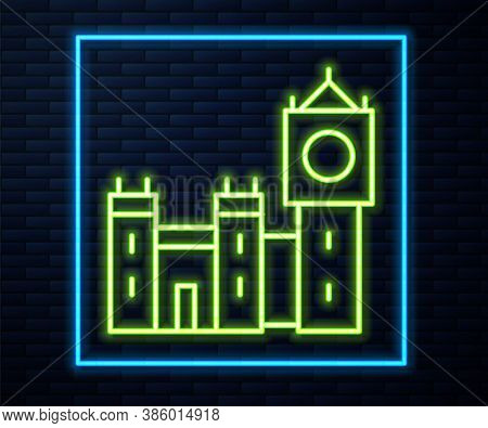 Glowing Neon Line Big Ben Tower Icon Isolated On Brick Wall Background. Symbol Of London And United