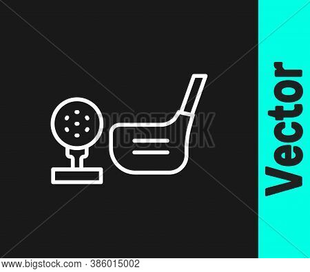 White Line Golf Flag And Golf Ball On Tee Icon Isolated On Black Background. Golf Equipment Or Acces