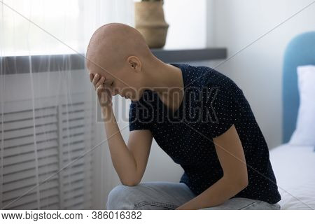 Unhappy Sick Hairless Woman Suffer From Oncology At Home