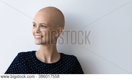 Smiling Hairless Sick Woman Look In Distance Thinking