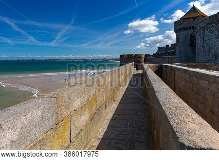 The Old Fortress Wall Of The Fort In The Old Town. Saint Malo. Brittany. France.