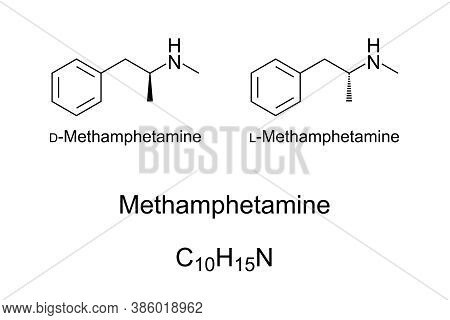 Methamphetamine, Chemical Structure. Stimulant And Recreational Drug, Existing In Two Enantiomers. K