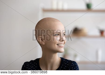 Happy Sick Hairless Cancer Patient Look In Distance Dreaming