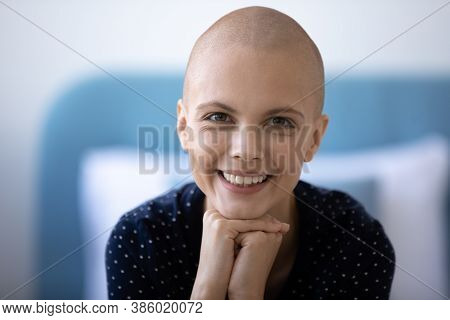 Portrait Of Smiling Hairless Woman Cancer Fighter