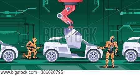 Vector Illustration Of Robots Involved In Car Manufacturing Process