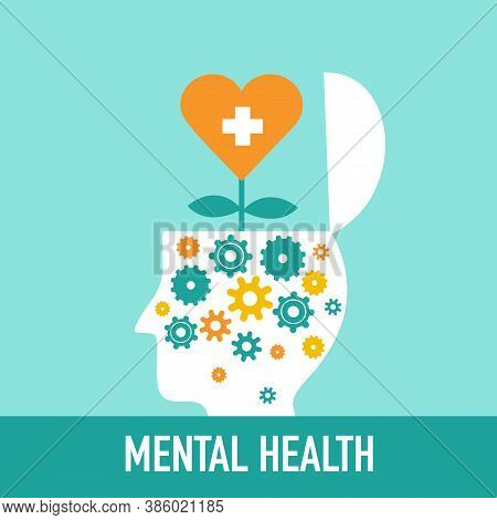 Silhouette Of Man's Head Opened With Gear Inside And Heart Flower Grownup. Mental Health Concept Vec