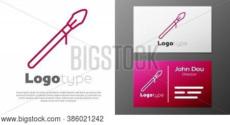 Logotype Line Medieval Spear Icon Isolated On White Background. Medieval Weapon. Logo Design Templat