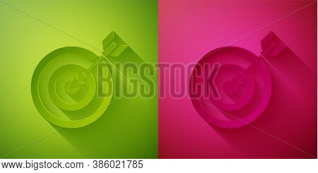 Paper Cut Target With Arrow Icon Isolated On Green And Pink Background. Dart Board Sign. Archery Boa