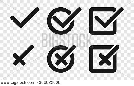 Check Mark With Cross, Isolated. Check Mark With Cross Vector Icons For Web Design. Check Marks With