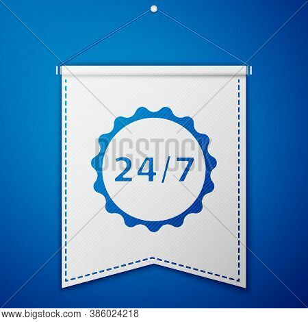 Blue Clock 24 Hours Icon Isolated On Blue Background. All Day Cyclic Icon. 24 Hours Service Symbol.