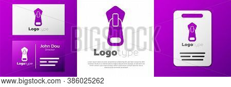 Logotype Zipper Icon Isolated On White Background. Logo Design Template Element. Vector Illustration