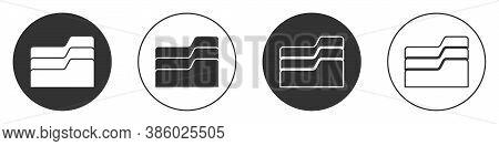Black Document Folder Icon Isolated On White Background. Accounting Binder Symbol. Bookkeeping Manag