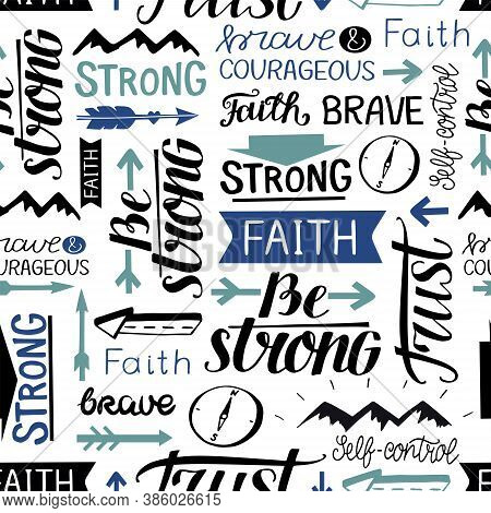 Seamless Pattern With Hand Drawn Words Faith, Strong, Brave, Trust.