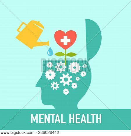 Silhouette Of Human Head Opened With Gear Inside And Heart Shape Flower Bloom. Mental Health Concept