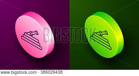 Isometric Line Garden Hose Or Fire Hose Icon Isolated On Purple And Green Background. Spray Gun Icon