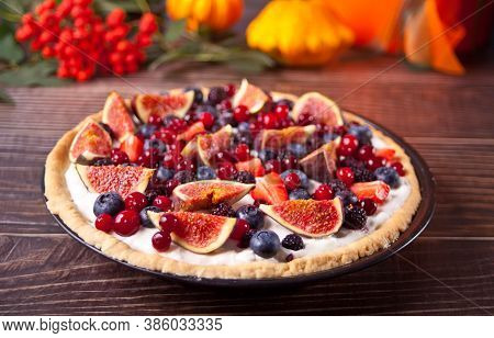 Fresh Baked Homemade Fig And Berries Tart With Mascarpone Cheese