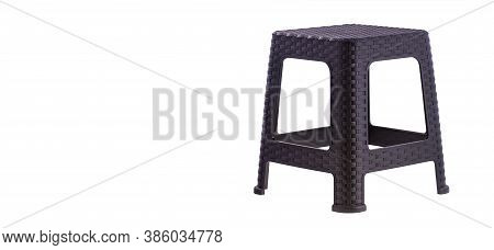 Plastic Stool Isolated On White Background - Text Space