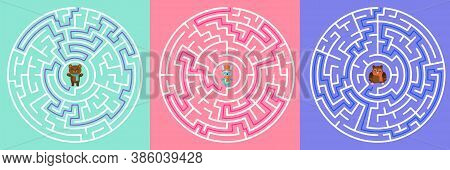 Maze Entrance. Find Right Way, Kids Labyrinth Game And Choice Mazes Entrances Letters. Lost Way Entr