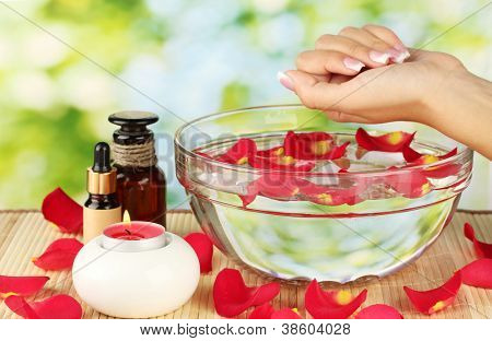 spa treatments for female hands,  on green background