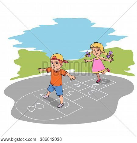 Overjoyed Children Hop Playing Game In Yard. Vector Girl Boy Jumping Have Fun Outdoor. Chalk Drawing