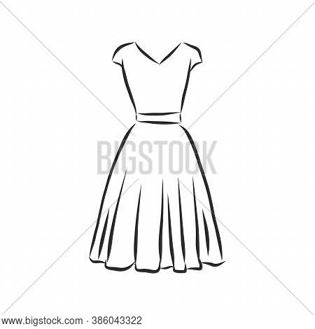 Sketches Collection Of Womens Dresses. Hand Drawn Vector Illustration. Black Outline Drawing Isolate
