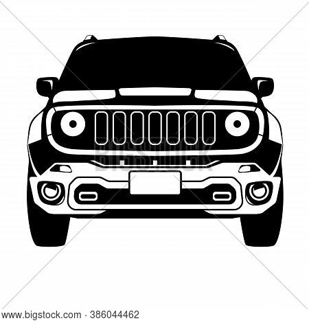 Offroad Truck Crossover  Front View, Vector Illustration