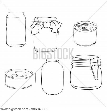 Sketch Of Different Mason Jars, Metal Cans And Bottles. Hand-drawn Vector Illustration. Can Of Canne