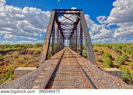 Closeup Of An Old Railroad Trestle Bridge Spanning Bear Canyon Near Perkinsville Arizona In The Pres