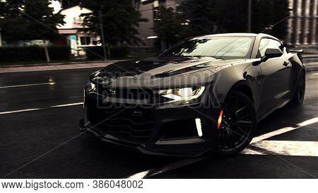Tomsk, Russia - June 2, 2020: Chevrolet Camaro Zl1 The Exorcist Street Drift