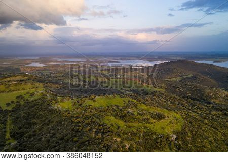 Alentejo Drone Aerial View Of The Landscape At Sunset With Alqueva Dam Reservoir, In Portugal