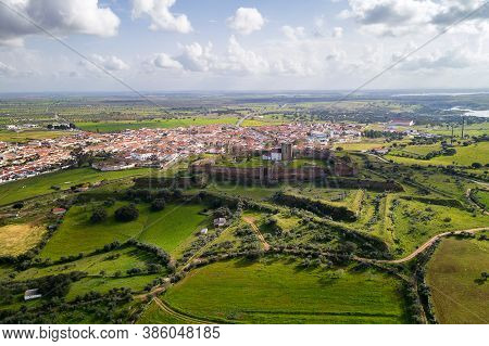 Mourao Drone Aerial View Of Castle And Village In Alentejo Landscape, Portugal