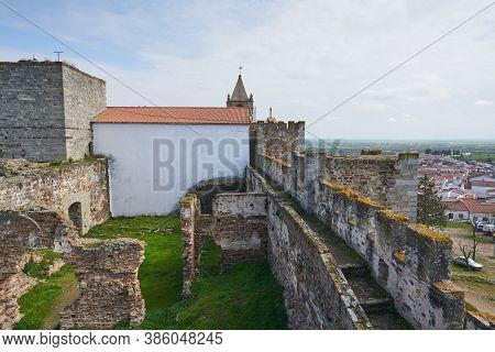 Mourao Castle Ruin Interior Historic Building In Alentejo, Portugal