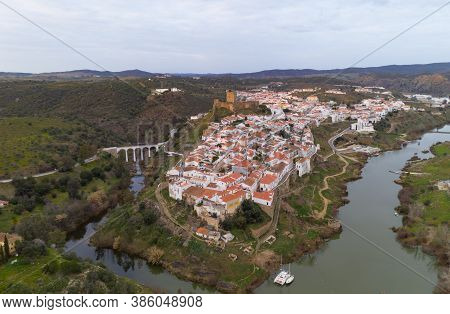 Mertola Drone Aerial View Of The City And Landscape With Guadiana River And Medieval Historic Castle