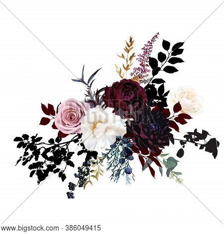 Burgundy Red And Dusty Pink Flowers Glamour Vector Design Bouquet. Dusty Rose, Ivory Peony, Burgundy
