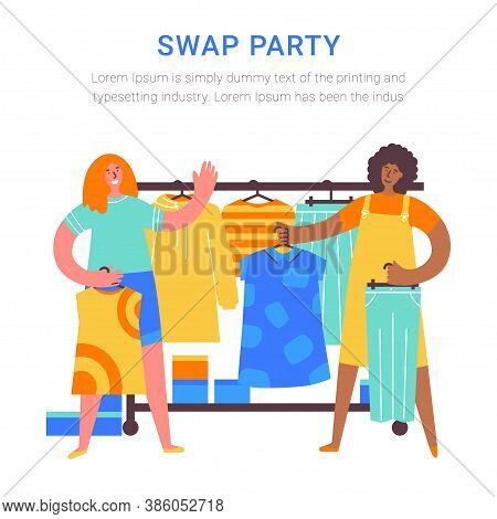 Swap Party Girls Different Nationalities Sell, Buy And Exchange Clothes. Garage Sale. Two Young Soci