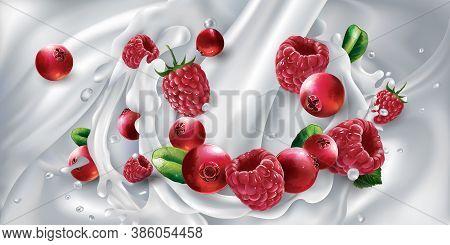 Cranberries And Raspberries In A Stream Of Milk Or Yogurt.