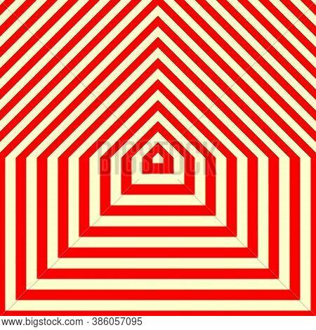 Stylized Wood Cutting Decorative Board Structure Motif. Symmetric Geometric Figures Abstract. Red Li