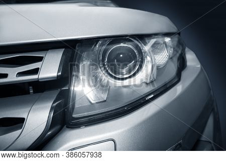 Headlight Of  Modern Prestigious Car Close-up Photo