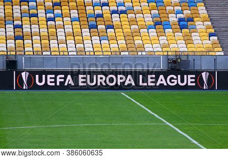 Kyiv, Ukraine - August 5, 2020: Uefa Europa League Banner On A Screenboard Of Nsc Olimpiyskyi Stadiu