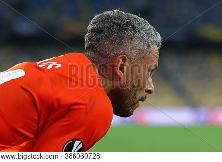 Kyiv, Ukraine - August 5, 2020: Portrait Of Player Marlos Of Shakhtar Donetsk Seen During The Uefa E