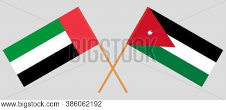 Crossed Flags Of Jordan And The United Arab Emirates. Official Colors. Correct Proportion. Vector Il