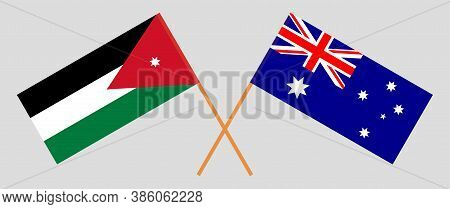Crossed Flags Of Jordan And Australia. Official Colors. Correct Proportion. Vector Illustration